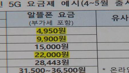 알뜰폰 5G 요금제 출시...최소 월 4,950원