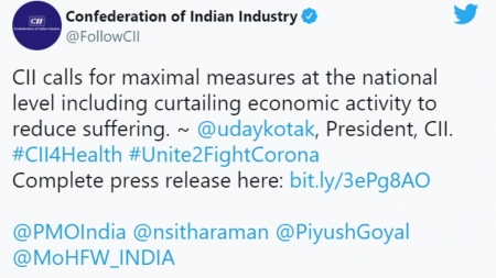 """인도산업협회, 경제활동 축소 스스로 요구...""""방역이 우선"""""""