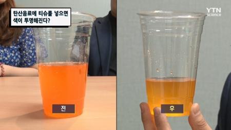 탄산음료에 티슈를 넣으면 색이 투명해진다?