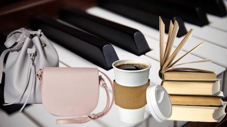 일회용 컵, 피아노, 가방, 책