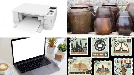 프린터, 옹기, 노트북, 우표