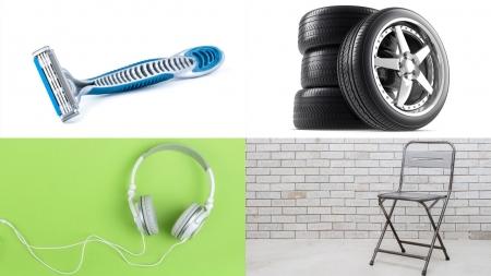 면도기, 타이어, 이어폰, 의자