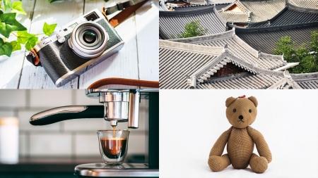 사진기, 기와, 커피 머신, 인형