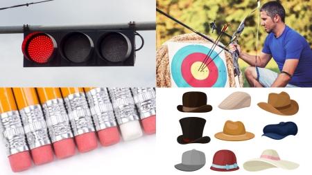 신호등, 활, 지우개 달린 연필, 모자