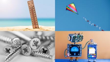 온도계, 연, 십자나사못, 로봇