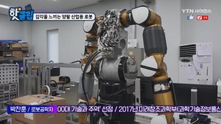 감각을 느끼는 양팔 산업용 로봇
